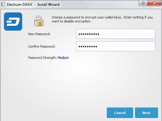 Прописываем пароль для Электрума