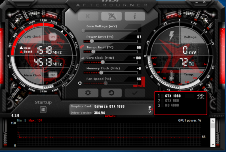 Стандартная программа Msi Afterburner